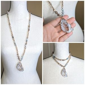 Jewelry - Mala Necklace w/ Geoid Electroplated Pendent